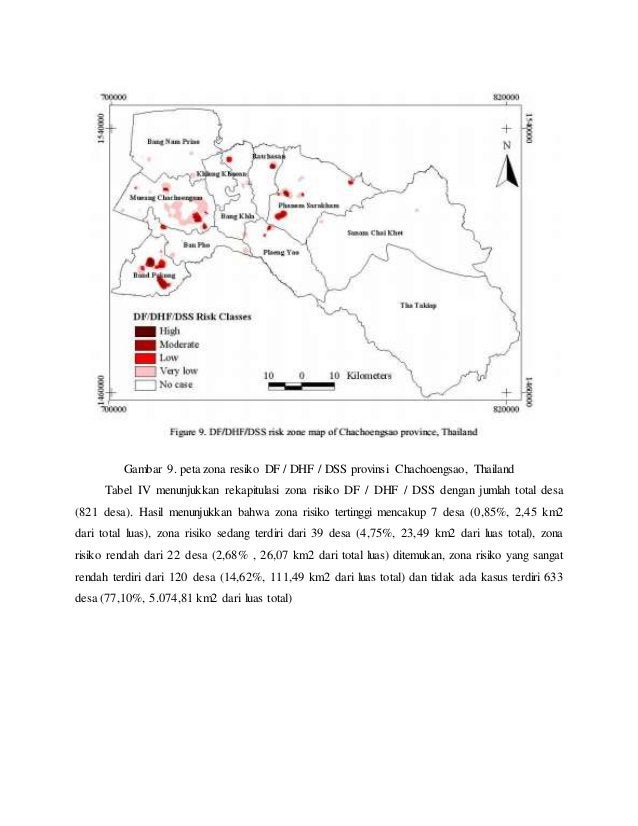 Gambar 9. peta zona resiko DF / DHF / DSS provinsi Chachoengsao, Thailand Tabel IV menunjukkan rekapitulasi zona risiko DF...