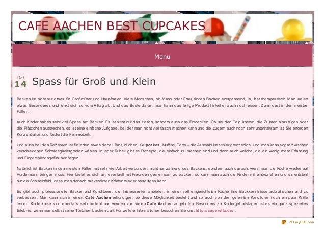 CAFE AACHEN BEST CUPCAKES Menu  14 Spass für Groß und Klein Oct  Backen ist nicht nur etwas für Großmütter und Hausfrauen....