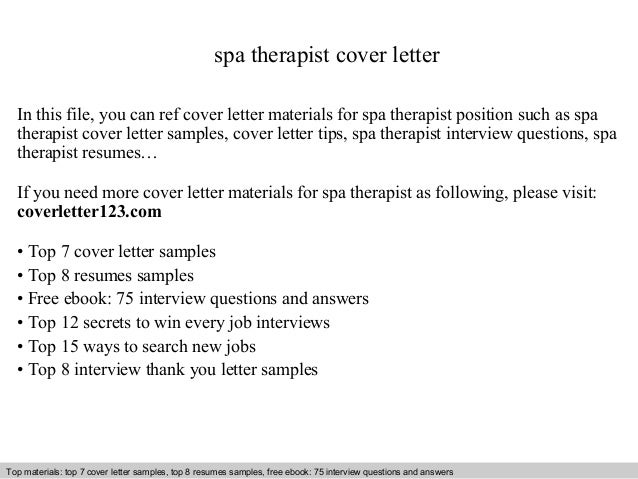 Spa Therapist Cover Letter In This File, You Can Ref Cover Letter Materials  For Spa ...