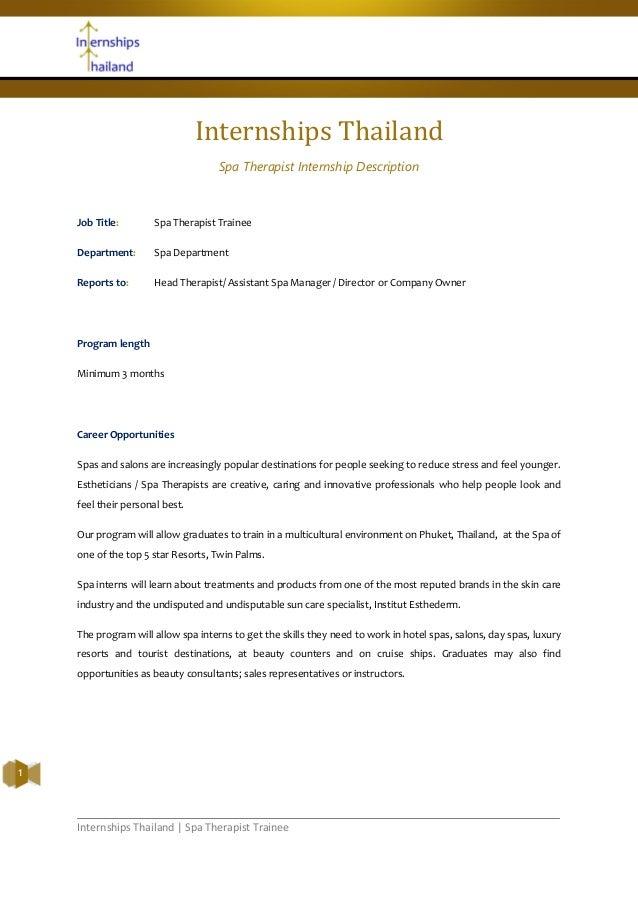 Internships Thailand   Spa Therapist Trainee1Internships ThailandSpa Therapist Internship DescriptionJob Title: Spa Therap...