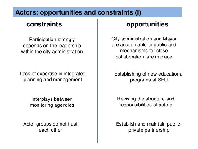 opportunities and constraints in the business Social and other opportunities and constraints opportunities in the business  environment are those factors that provide possibilities for a business to expand  so.