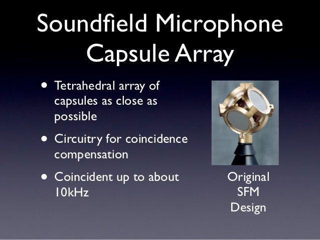 Soundfield Microphone    Capsule Array• Tetrahedral array of  capsules as close as  possible• Circuitry for coincidence  co...
