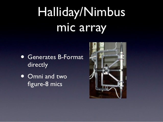 Halliday/Nimbus        mic array• Generates B-Format  directly• Omni and two  figure-8 mics