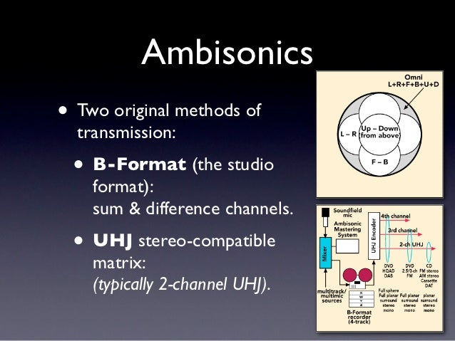 Ambisonics• Two original methods of  transmission: • B-Format (the studio    format):    sum & difference channels. • UHJ ...