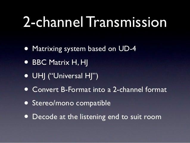 "2-channel Transmission• Matrixing system based on UD-4• BBC Matrix H, HJ• UHJ (""Universal HJ"")• Convert B-Format into a 2-..."