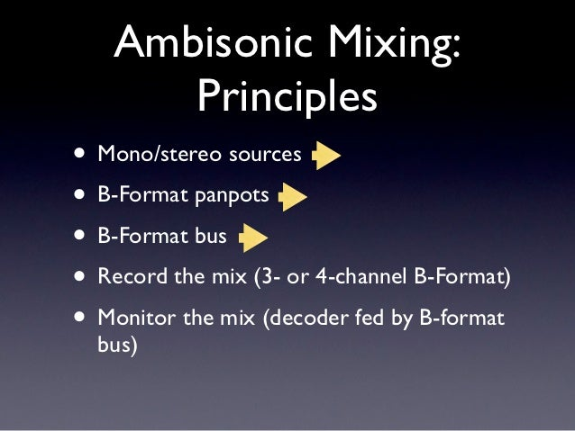 Ambisonic Mixing:      Principles• Mono/stereo sources• B-Format panpots• B-Format bus• Record the mix (3- or 4-channel B-...
