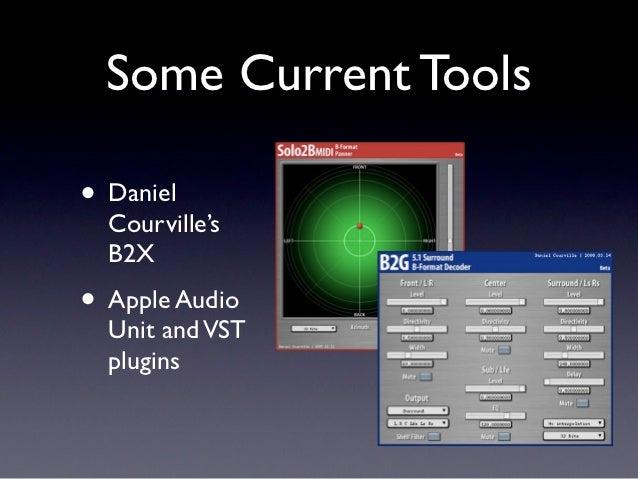 Some Current Tools• Daniel  Courville's  B2X• Apple Audio  Unit and VST  plugins