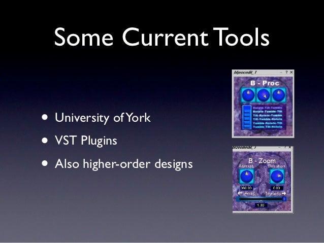 Some Current Tools• University of York• VST Plugins• Also higher-order designs