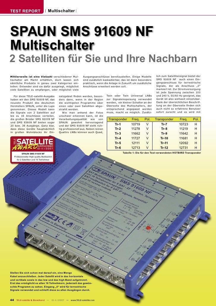 TEST REPORT                           Multischalter     SPAUN SMS 91609 NF Multischalter 2 Satelliten für Sie und Ihre Nac...