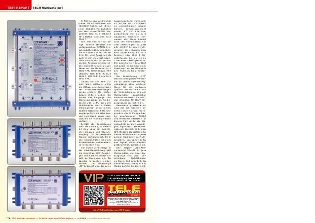 TEST REPORT  SCR Multischalter  In Teil 1 dieser Artikelserie (siehe TELE-audiovision 0910/2013) haben wir Ihnen zwei Eink...