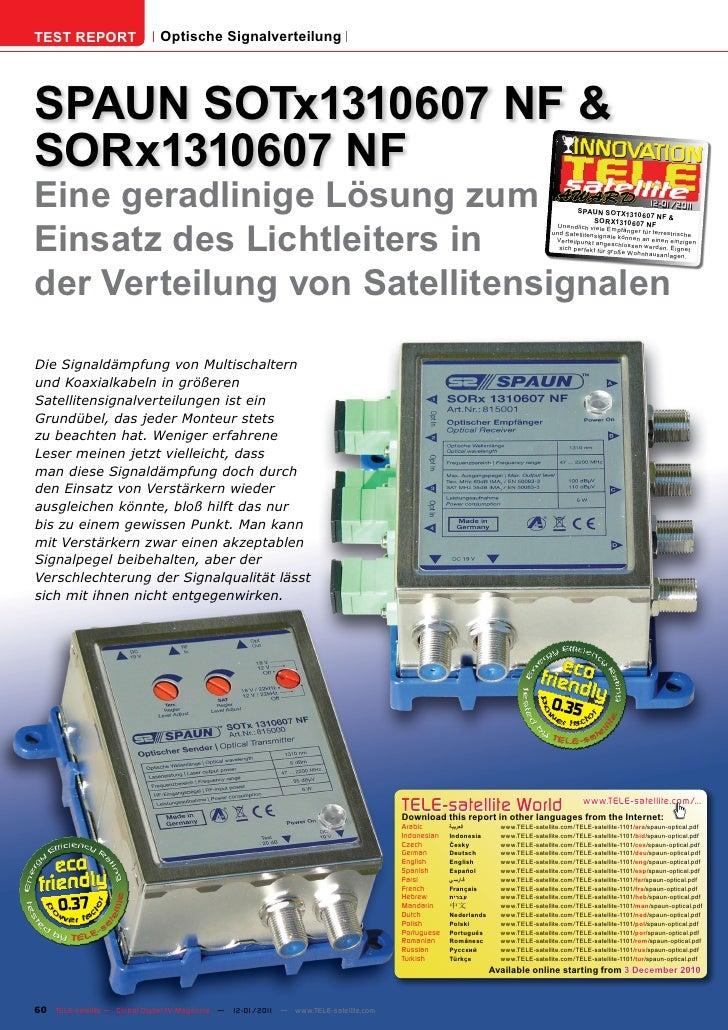 TEST REPORT                   Optische SignalverteilungSPAUN SOTx1310607 NF &SORx1310607 NFEine geradlinige Lösung zum    ...