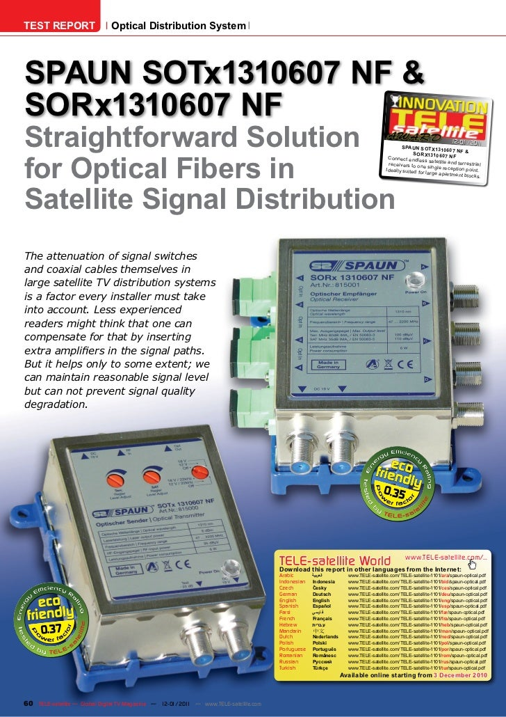 TEST REPORT                   Optical Distribution SystemSPAUN SOTx1310607 NF &SORx1310607 NFStraightforward Solution     ...