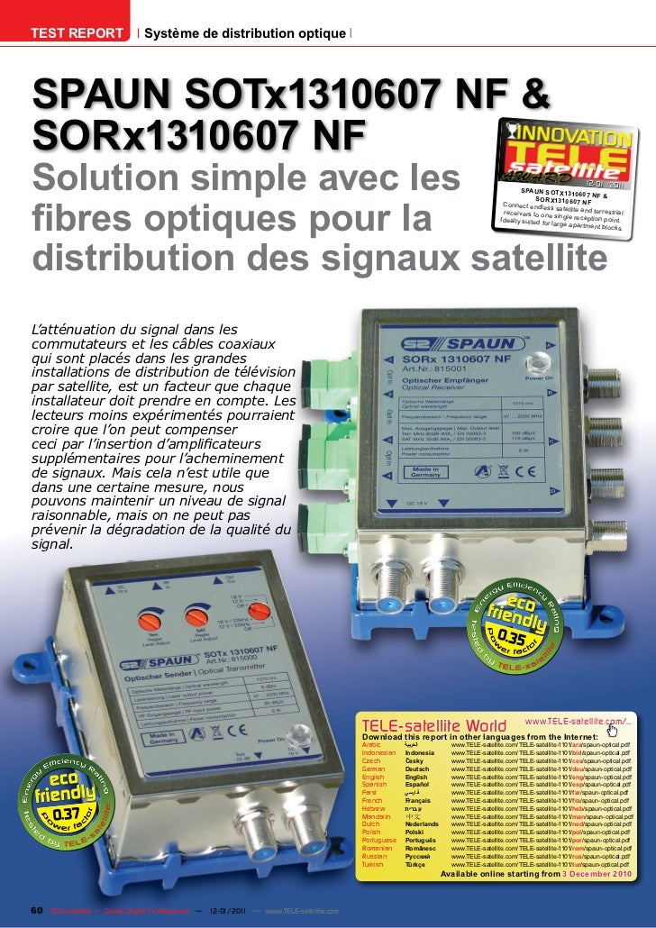 TEST REPORT                   Système de distribution optiqueSPAUN SOTx1310607 NF &SORx1310607 NFSolution simple avec les ...