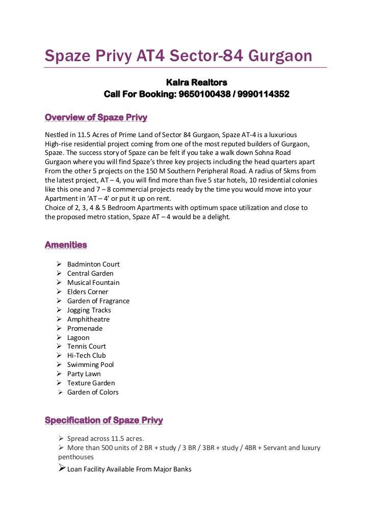 Spaze Privy AT4 Sector-84 Gurgaon                                   Kalra Realtors                    Call For Booking: 96...