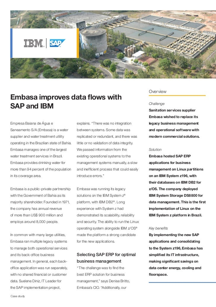 OverviewEmbasa improves data flows withSAP and IBM                                                                        ...