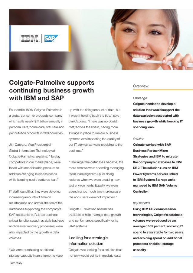 Colgate-Palmolive supports continuing business growth with IBM and SAP