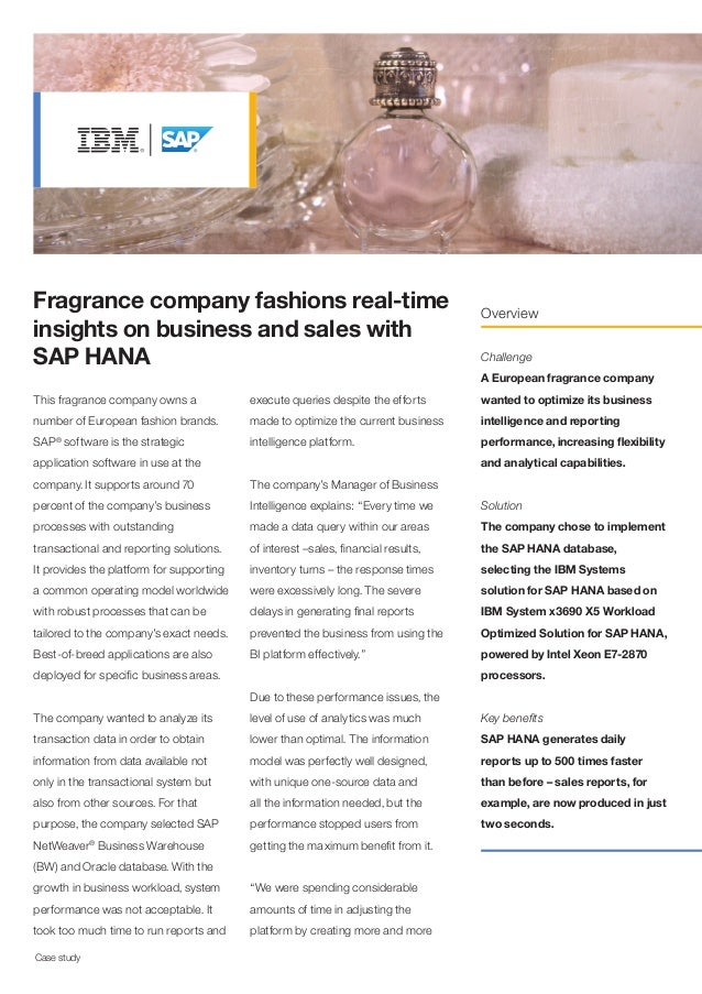 Fragrance company fashions real-time insights on business and sales with SAP HANA