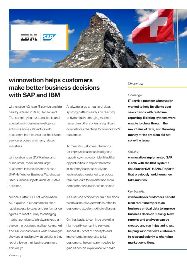 winnovation helps customers make better business decisions with SAP and IBM