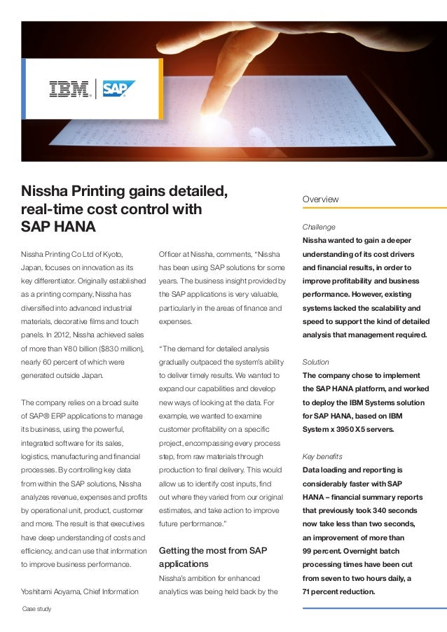 Nissha Printing gains detailed, real-time cost control with SAP HANA