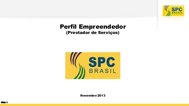 Perfil Empreendedor (Prestador de Serviços)  Novembro'2013 Slide 1