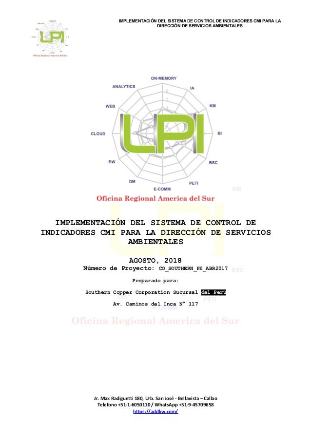 IMPLEMENTACIÓN DEL SISTEMA DE CONTROL DE INDICADORES CMI PARA LA DIRECCIÓN DE SERVICIOS AMBIENTALES IMPLEMENTACIÓN DEL SIS...