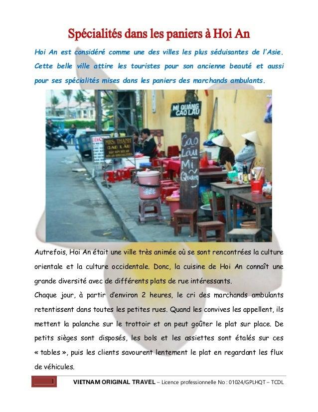 1 VIETNAM ORIGINAL TRAVEL – Licence professionnelle No : 01024/GPLHQT – TCDL Spécialités dans les paniers à Hoi An Hoi An ...