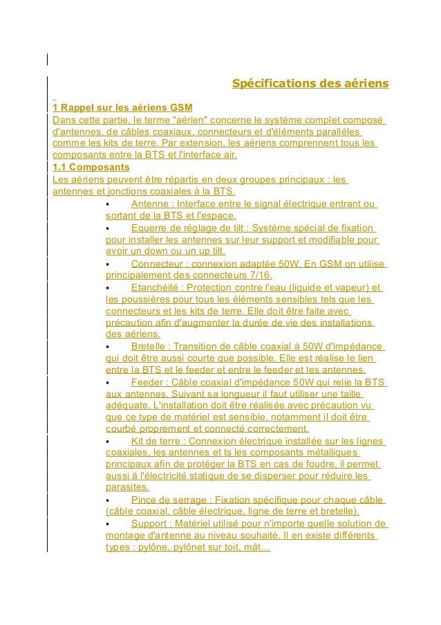 """Spécifications des aériens 1 Rappel sur les aériens GSM Dans cette partie, le terme """"aérien"""" concerne le système complet c..."""