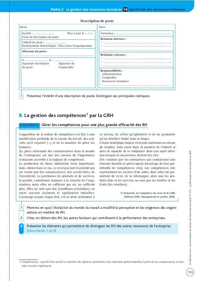 Partie C | La gestion des ressources humaines Spécificités des ressources humaines14 B. La gestion des compétences1 par la...