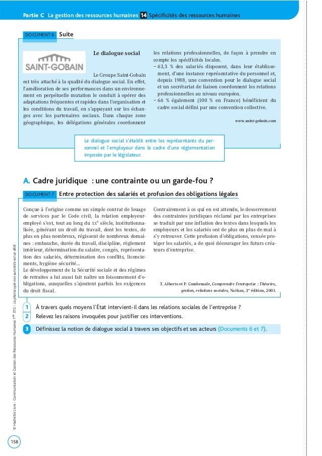 A. Cadre juridique : une contrainte ou un garde-fou ? 158 ©HachetteLivre-CommunicationetGestiondesRessourcesHumainesTaleST...