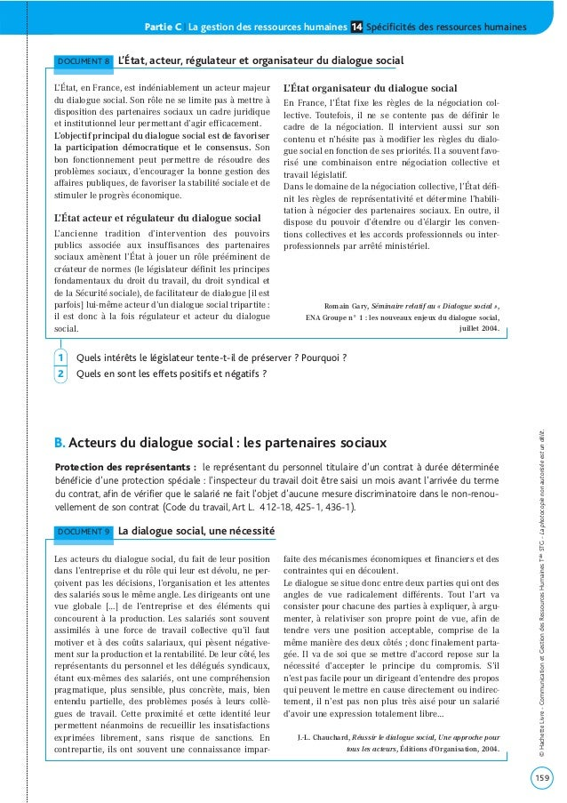 Partie C | La gestion des ressources humaines Spécificités des ressources humaines14 B. Acteurs du dialogue social : les p...