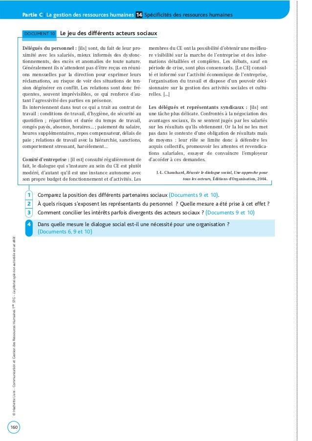 160 ©HachetteLivre-CommunicationetGestiondesRessourcesHumainesTaleSTG-Laphotocopienonautoriséeestundélit. Partie C | La ge...