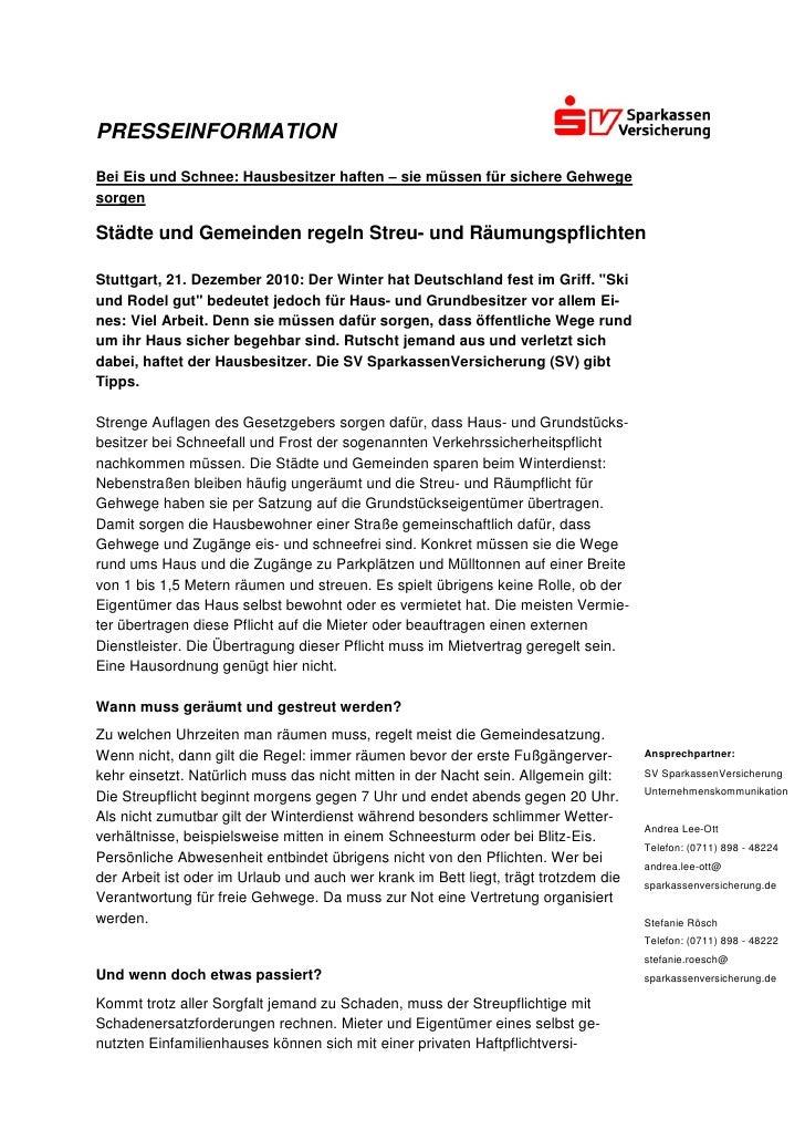 PRESSEINFORMATIONBei Eis und Schnee: Hausbesitzer haften – sie müssen für sichere GehwegesorgenStädte und Gemeinden regeln...