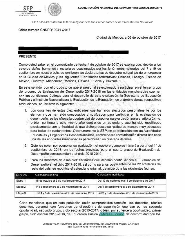 """SEP COORDINACIÓN NACIONAL DEL SERVICIO PROFESIONAL DOCENTE EDUCM.:lÓN PÚll..lCA 2017, """"Año del Centenario de fa Promulgaci..."""