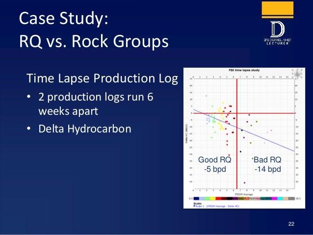 Case Study: RQ vs. Rock Groups Time Lapse Production Log • 2 production logs run 6 weeks apart • Delta Hydrocarbon 22 Good...