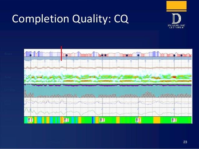 Completion Quality: CQ 23 Stress Lithology NPHI DPHI GR Clusters Sonic Wigger, E., et al, SPE 14UNCV-167726-MS, 2014