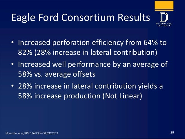 Eagle Ford Consortium Results • Increased perforation efficiency from 64% to 82% (28% increase in lateral contribution) • ...