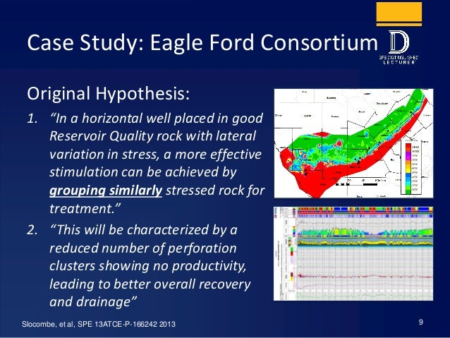 """Case Study: Eagle Ford Consortium Original Hypothesis: 1. """"In a horizontal well placed in good Reservoir Quality rock with..."""