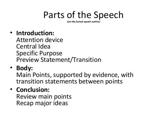 SPE 108: Section 1 - Parts of the Speech