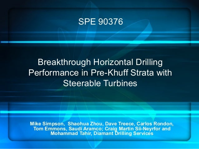 Breakthrough Horizontal Drilling Performance in Pre-Khuff Strata with Steerable Turbines Mike Simpson, Shaohua Zhou, Dave ...