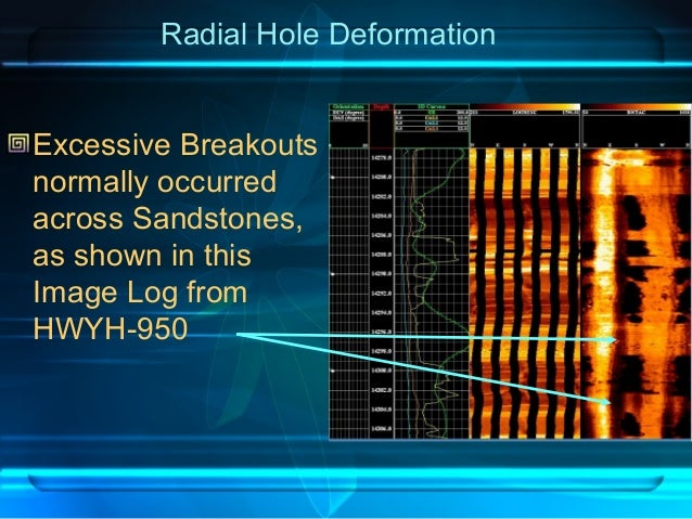 Radial Hole Deformation Excessive Breakouts normally occurred across Sandstones, as shown in this Image Log from HWYH-950