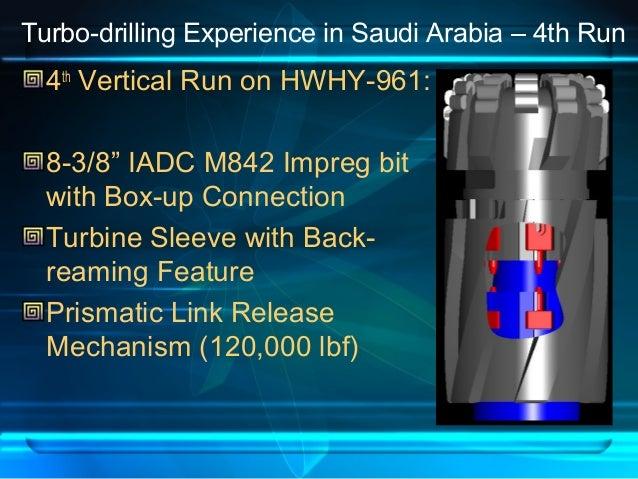"Turbo-drilling Experience in Saudi Arabia – 4th Run 4th Vertical Run on HWHY-961: 8-3/8"" IADC M842 Impreg bit with Box-up ..."