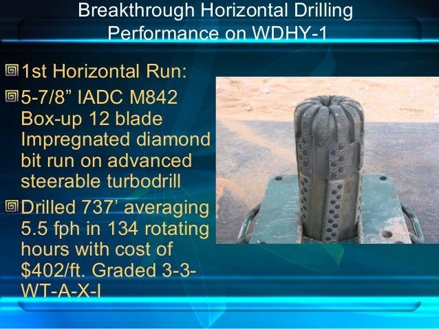 "Breakthrough Horizontal Drilling Performance on WDHY-1 1st Horizontal Run: 5-7/8"" IADC M842 Box-up 12 blade Impregnated di..."
