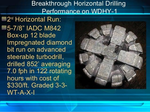 "Breakthrough Horizontal Drilling Performance on WDHY-1 2nd Horizontal Run: 5-7/8"" IADC M842 Box-up 12 blade Impregnated di..."