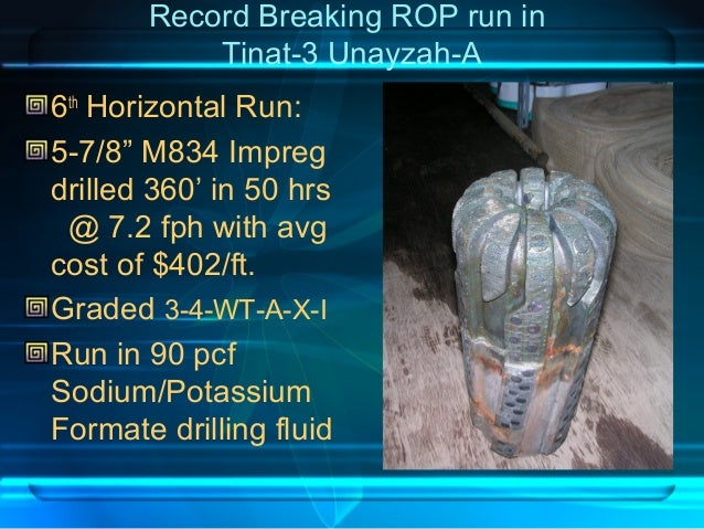 """Record Breaking ROP run in Tinat-3 Unayzah-A 6th Horizontal Run: 5-7/8"""" M834 Impreg drilled 360' in 50 hrs @ 7.2 fph with ..."""