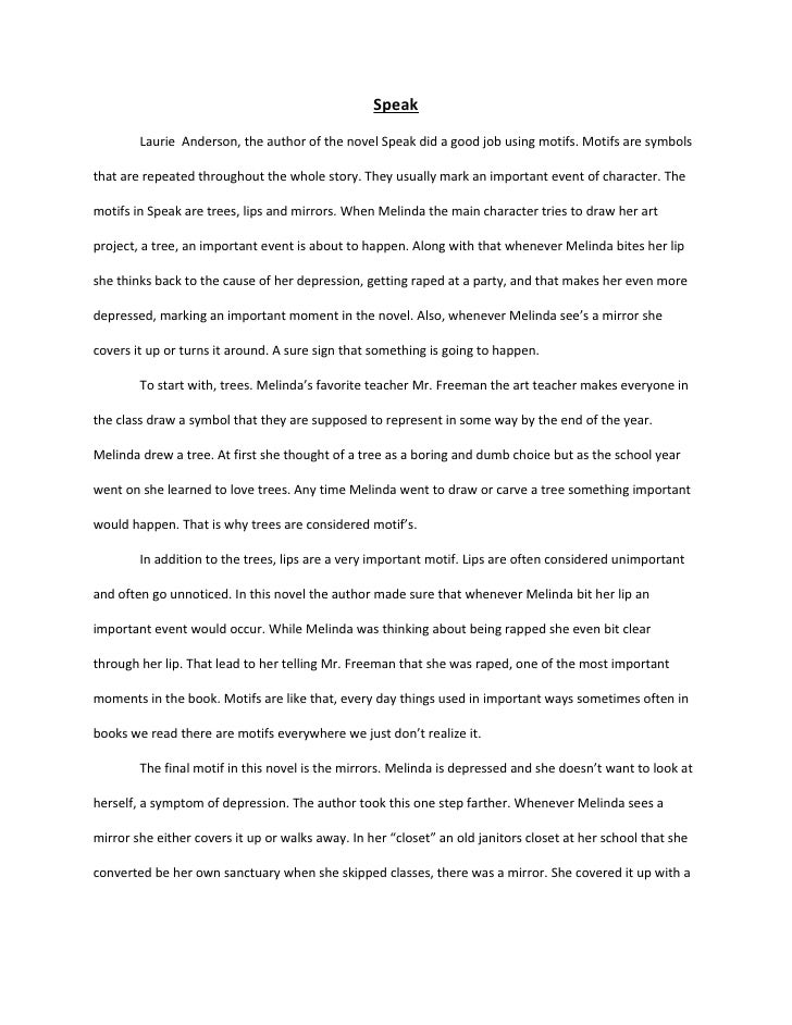 Speak By Laurie Halse Anderson Essay Find Another Essay On Speak By Laurie Halse Anderson What Is The Thesis Of A Research Essay also Assignment Writers Uk  Essay Paper Writing