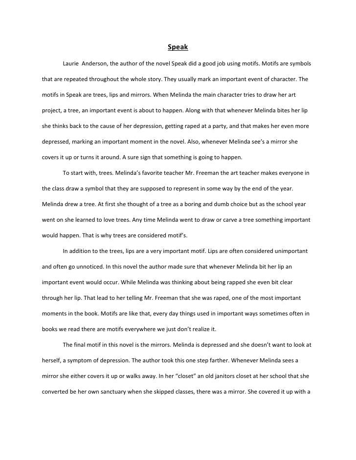 Speak novel essay