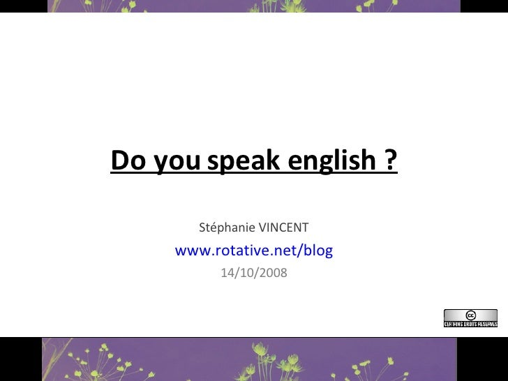 Do you speak english ? Stéphanie VINCENT www.rotative.net/blog 14/10/2008