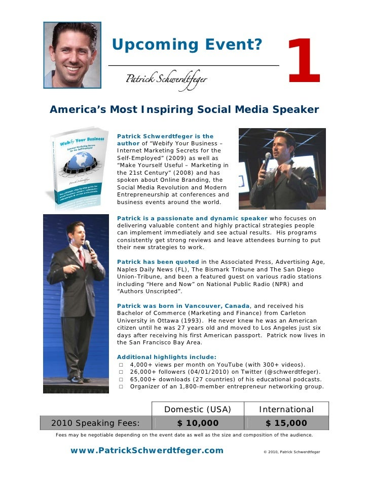 1                        Upcoming Event?    America's Most Inspiring Social Media Speaker                           Patric...