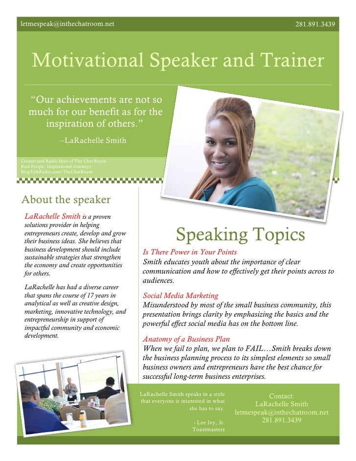 Free Motivational Speaker Business Plan