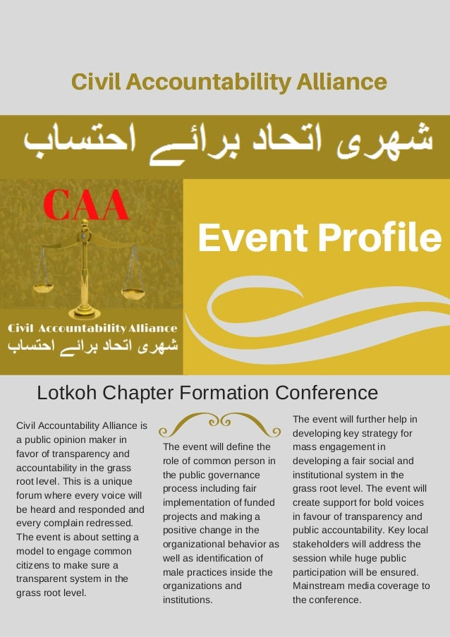 Event Profile Civil Accountability Alliance Lotkoh Chapter Formation Conference Civil Accountability Alliance is a public ...